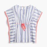 J.Crew Girls' striped beach shirt with pom-poms