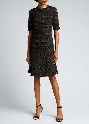 Rickie Freeman For Teri Jon Metallic Tweed Short Sleeve Dress