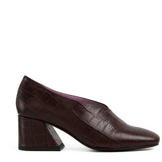 Unreal Fields Dale - Brown Leather Mid Heel Pumps