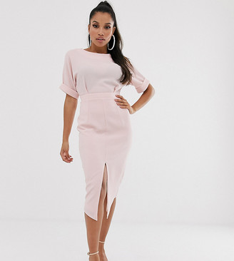 ASOS DESIGN Petite wiggle midi dress in blush