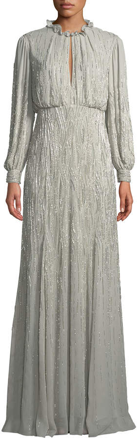 J. Mendel Long-Sleeve Ruffled-Collar Beaded-Embellished Silk Evening Gown