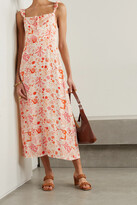 Thumbnail for your product : Rixo Cecile Ruffled Printed Crepe Midi Dress - Orange