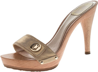 Christian Dior Metallic Beige Leather Open Toe Platform Sandals Size 40