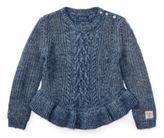 Ralph Lauren Aran Cotton Peplum Sweater Denim Blue Heather 6