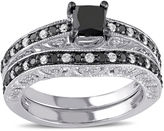 MODERN BRIDE Midnight Black Diamond 1 CT. T.W. White and Color-Enhanced Diamond Sterling Silver Ring Set
