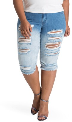 Poetic Justice Lelahni Distressed Ombre Denim Capris