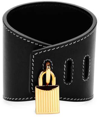 Tom Ford Large Lock Leather Cuff Bracelet