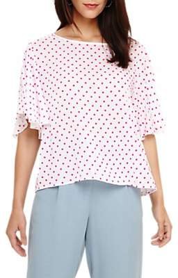 Phase Eight Dot Flock Blouse, White/Multi