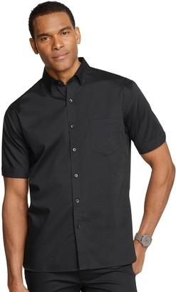 Van Heusen Men's Never Tuck Solid Twill Button-Down Shirt