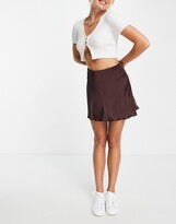 Thumbnail for your product : Weekday Shorty satin mini skirt in brown
