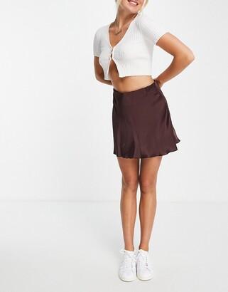 Weekday Shorty satin mini skirt in brown