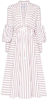 Rosie Assoulin Lantern-Sleeve Stripe Midi Dress