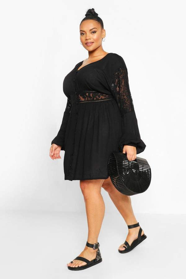 boohoo Plus Woven Lace Detail Smock Dress
