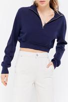 Urban Renewal Vintage Recycled Cropped Half-Zip Sweater