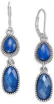 Nine West Silver-Tone Blue Stone Double Drop Earrings