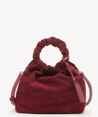 Sole Society Women's Tyll Mini Crossbody Bag Ruched Velvet Garnet Velvet Vegan Leather From