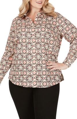 Foxcroft Ava Mosiac Print Wrinkle Free Shirt
