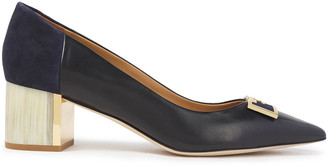 Tory Burch Buckle-embellished Suede And Leather Pumps