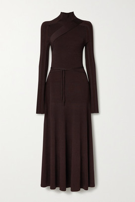 Peter Do Seatbelt Ribbed-knit Turtleneck Midi Dress - Chocolate