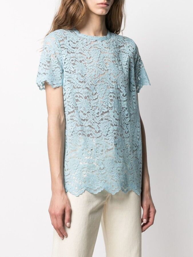 Thumbnail for your product : Semi-Couture scalloped floral-lace T-shirt
