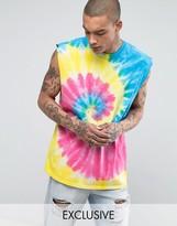 Reclaimed Vintage Inspired Oversized Sleeveless T-Shirt In Tie Dye