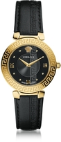 Versace Daphnis Black and PVD Gold Plated Women's Watch w/Greek Engraving