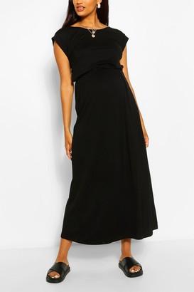 boohoo Maternity Cap Sleeve Shirred Waist Maxi Dress