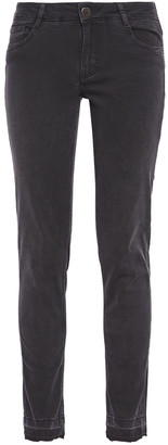 Maje Anthracite Distressed Mid-rise Skinny Jeans