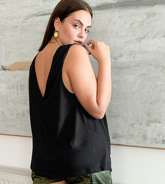 Asos DESIGN Curve super oversized high neck tank with open back in black