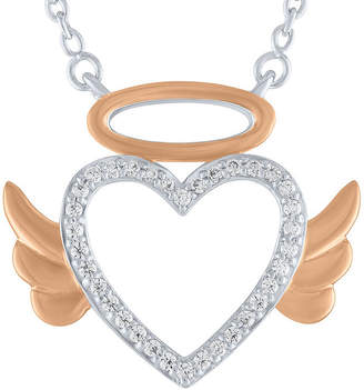FINE JEWELRY Womens 1/10 CT. T.W. Genuine White Diamond 14K Rose Gold Over Silver Sterling Silver Angel Pendant Necklace