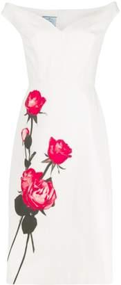 Prada rose print shift dress