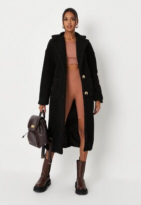 Missguided Tall Black Borg Teddy Patch Pocket Coat