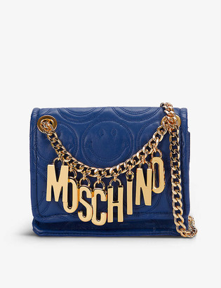 Moschino Logo-embossed leather cross body bag