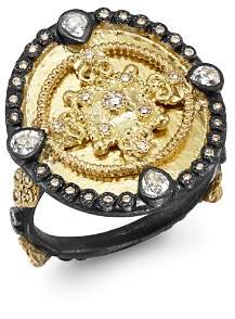 Armenta 18K Yellow Gold & Blackened Sterling Silver Old World Diamond & White Sapphire Heraldry Ring