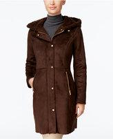 Jones New York Hooded Faux-Shearling Walker Coat