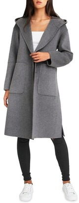 Belle & Bloom Walk This Way Wool Blend Oversized Coat - Dark