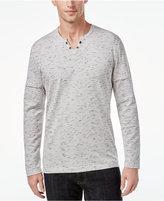 INC International Concepts Men's Split-Neck Layered Dash-Print Shirt, Only at Macy's