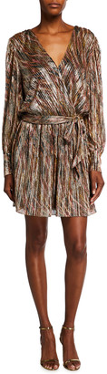 Ramy Brook Rumer Satin Variegated Stripe Mini Wrap Dress