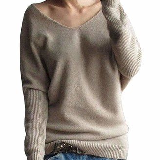 YEBIRAL Sweater Women Pullover Jumper Fashion Winter Batwing Sleeve Solid Knitted Tops Blouse Brown