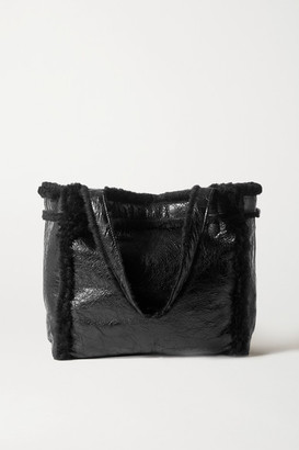 Dries Van Noten Reversible Shearling And Crinkled-leather Tote - Black
