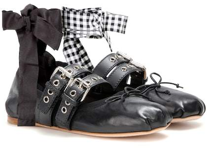 Miu Miu Buckle-embellished leather ballerinas