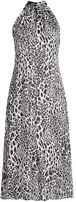 Milly Adrian Leopard-Print Burnout Dress