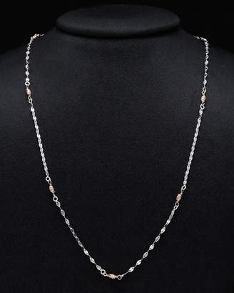 Italian Silver Two-Tone Flat Link Twist Station 24In Necklace