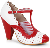 Bettie Page White & Red Leatherette Spectator Paige T-Strap Heels Shoes