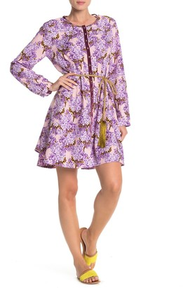 Aratta Floral & Tasseled Long Sleeve Shirt Dress
