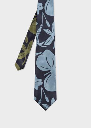 Paul Smith Men's Navy 'Floral Cutout' Silk Tie