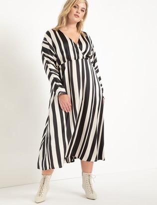 ELOQUII Surplice Bodice Striped Dress