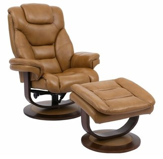 Brayden Studio Canella Leather Manual Swivel Recliner with Ottoman Upholstery Color: Butterscotch