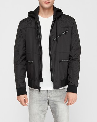 Express Quilted Removable Hood Moto Jacket
