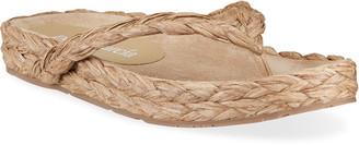 Pedro Garcia Alda 5mm Raffia Flat Thong Sandals
